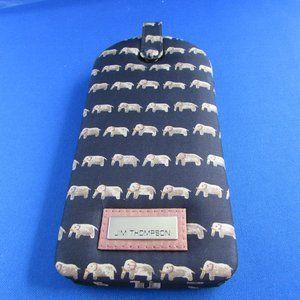 Navy Silk eyeglass case with elephant print